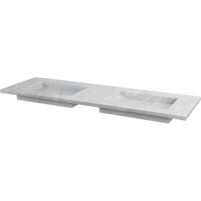 Ben Naturno wastafel Carrara 140,5x51,5x3cm 2 kraangaten