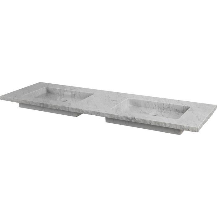 Ben Naturno wastafel Carrara 160,5x51,5x3,0cm 2 kraangaten