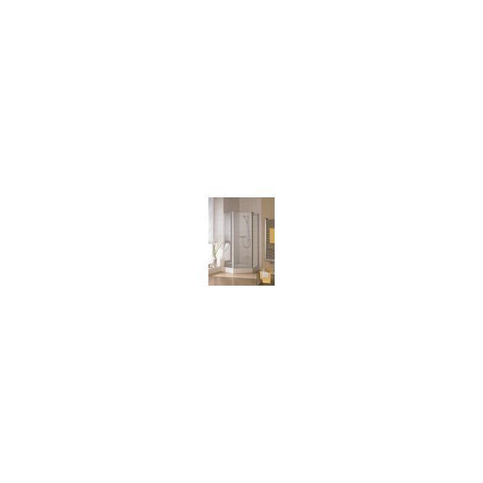 Kermi Ibiza Douchecabine Vijfhoek met draaideur 90x185cm Mat zilver/Helder glas