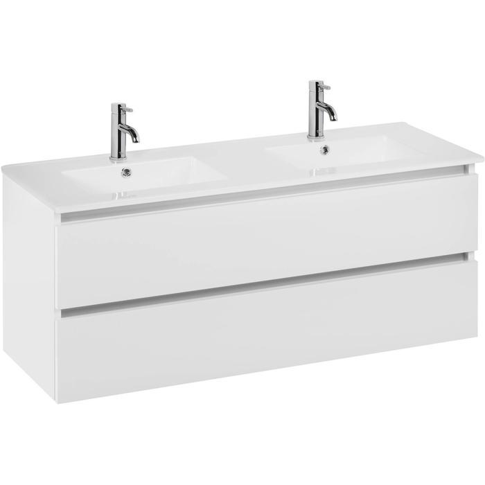 Ben Limara wastafelmeubelset 140cm wastafel keramiek glans wit/aluminium