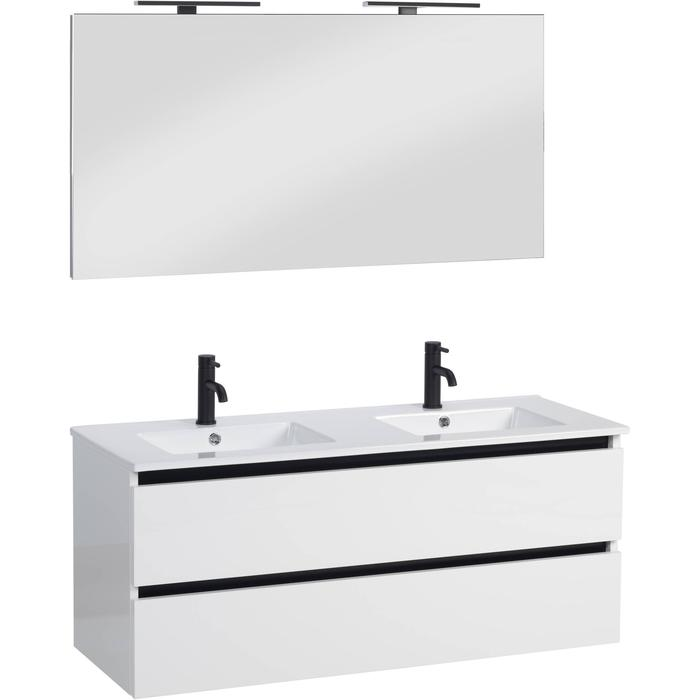 Ben Limara Wastafelmeubelset met spiegel 121x46 cm Glans Wit met zwarte greeplijst