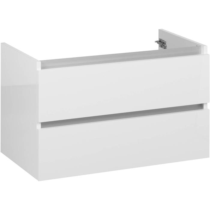 Ben Limara Wastafelonderkast 2 laden, 60x44,5x50 cm, Glans Wit/Aluminium