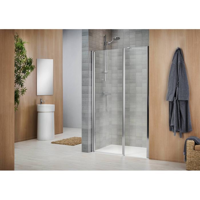 Sealskin Duka 1400 inline deur L. 120(B)x195(H) cm mat zilver helder glas