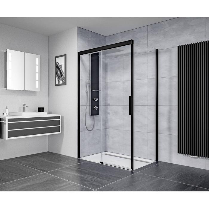 Ben IMotion douchecabine links schuivend  120x90x206 cm  mat zwart/helder glas