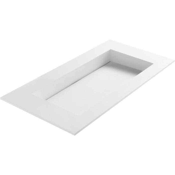 Ben Sona wastafel solid surface S1, 100x51x1,5cm 1 bak zonder kraangat Mat wit