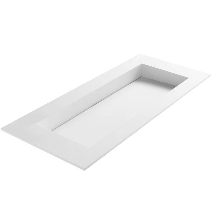 Ben Sona wastafel solid surface S1, 120x51x1,5cm 1 bak 2 kraangaten Mat wit