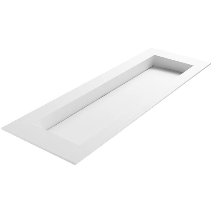 Ben Sona wastafel solid surface S1, 160x51x1,5cm 1 bak 1 kraangat Mat wit