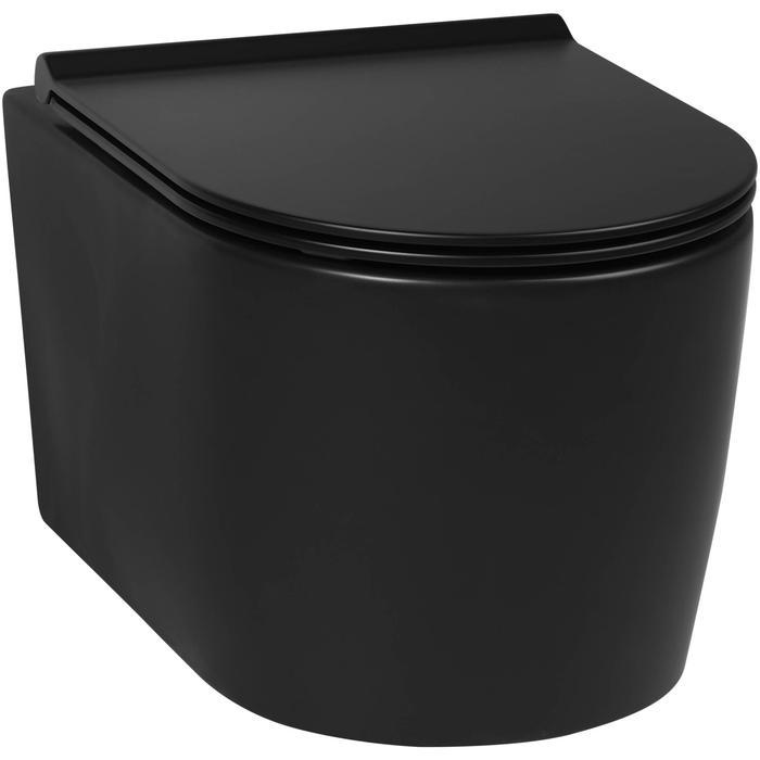 Saqu wandcloset compact rimless mat zwart