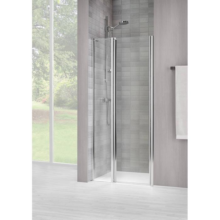 Sealskin Vela 2000 swingdeur L.draaiend 90(B)x195(H) cm (met vaste wand, tussen 2 muren, gemonteerd op een vloer - glas midden) zilver hoogglans gesatineerd glas