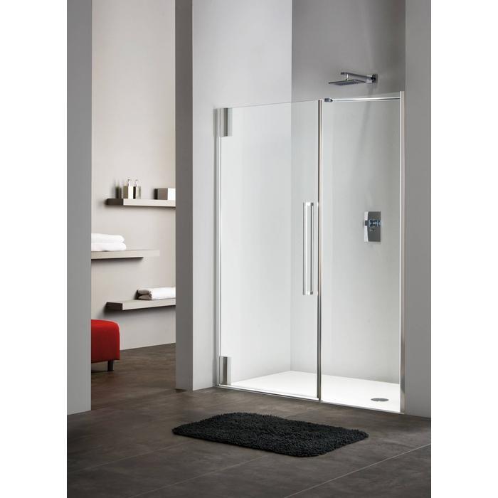Sealskin Duka 2100 inline deur R. 130(B)x195(H) cm zilver hoogglans semi-gesatineerd glas 8mm