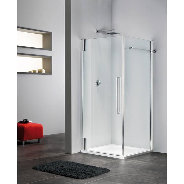 Sealskin Duka 2100 swingdeur R. 90(B)x195(H) cm (voor comb. met zijwand, gemonteerd op een vloer - glas midden) zilver hoogglans semi-gesatineerd glas 8mm