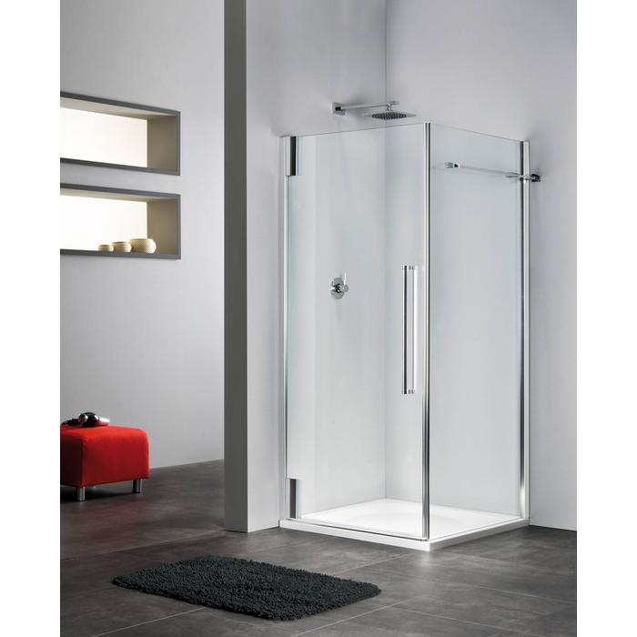 Sealskin Duka 2100 swingdeur L. 75(B)x195(H) cm (voor comb. met zijwand, gemonteerd op een vloer - glas midden) zilver hoogglans semi-gesatineerd glas 8mm