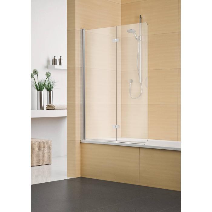 Sealskin Multi-S 4000 vouw-pendel badwand 2-dlg L.vast 140(B)x150(H) cm zilver hoogglans helder glas