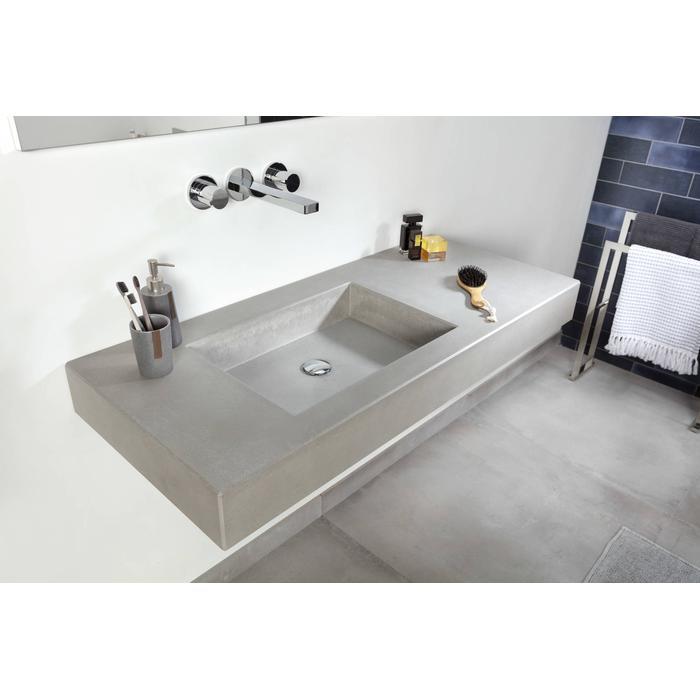Ben Titan wastafelblad beton met 2 bakken, 200x51,5x12cm grijs zonder kraangaten