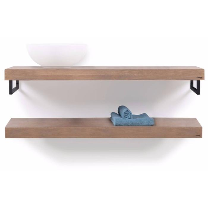 Looox Wooden Collection duo base shelf met handdoekhouders mat zwart eiken/mat zwart