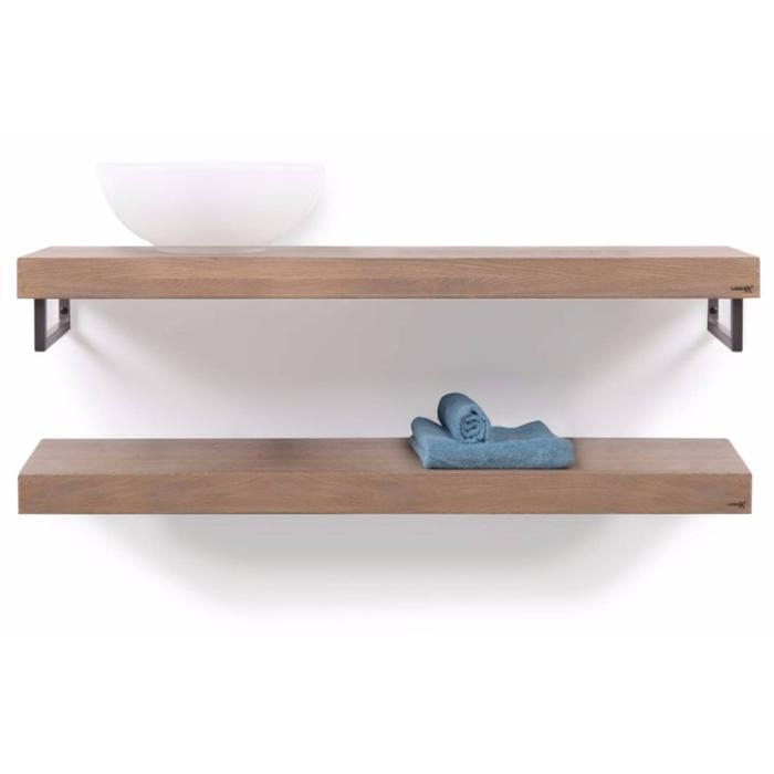 Looox Wooden Collection duo base shelf met handdoekhouders rvs eiken/geborsteld rvs