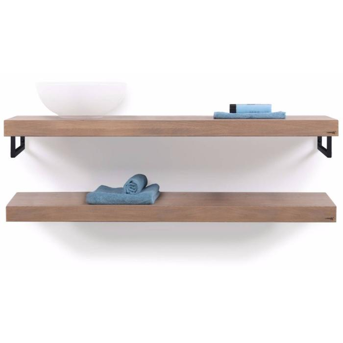 Looox Wooden Collection duo wooden base shelf met handdoekhouders zwart eiken/mat zwart
