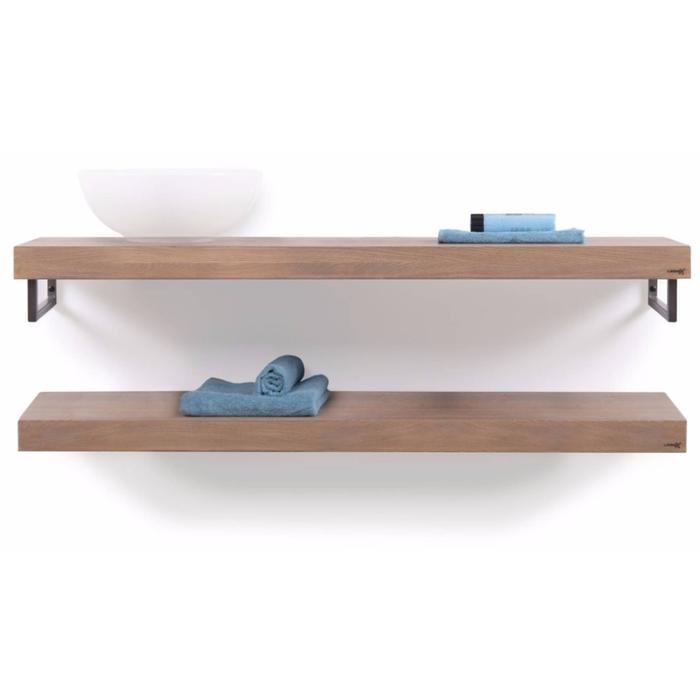 Looox Wooden Collection duo wooden base shelf met handdoekhouders rvs eiken/geborsteld rvs