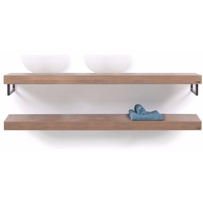 Looox Wooden Collection duo wooden base shelf handoekhouders rvs eiken/geborsteld rvs