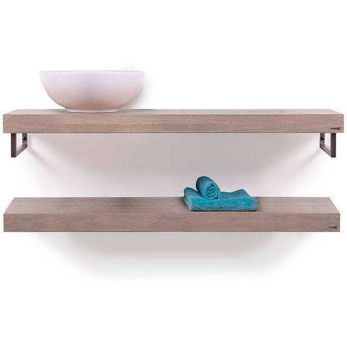 Looox Wooden Base Shelf Duo Eiken 100 cm Old Grey/RVS