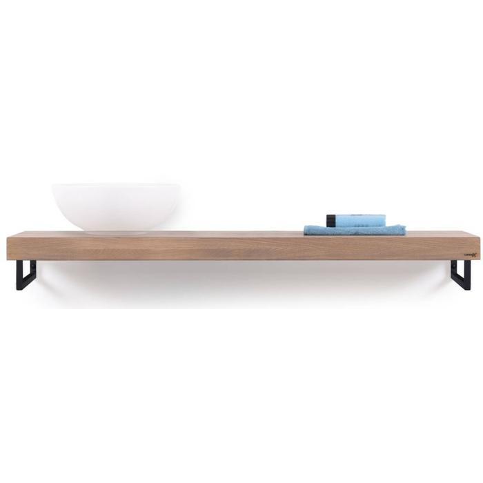 Looox Wooden Collection solo wooden base shelf met handdoekhouders zwart eiken/mat zwart