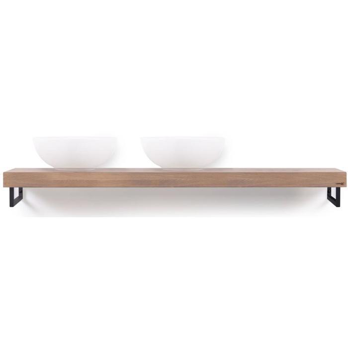 Looox Wooden Collection wooden base shelf met handdoekhouders zwart eiken/mat zwart