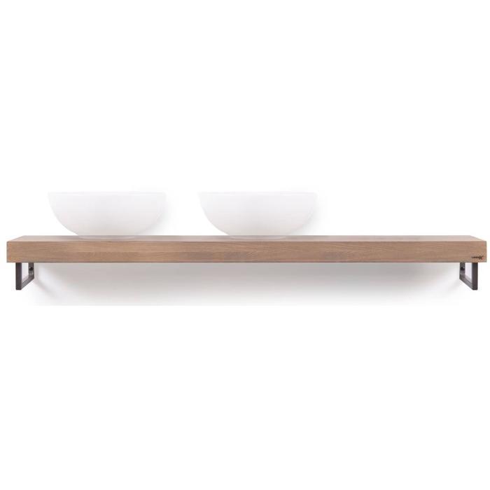 Looox Wooden Collection solo wooden base shelf met handdoekhouders rvs eiken/geborsteld rvs