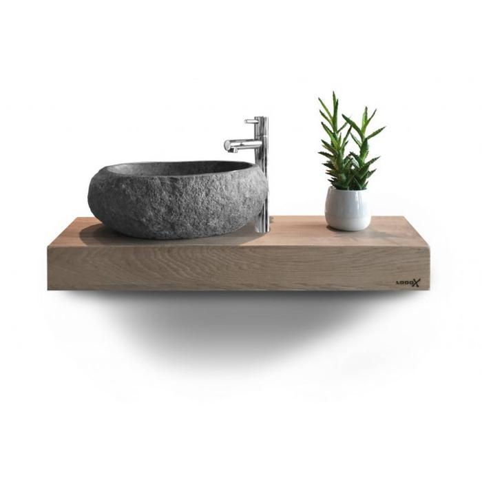 Looox Wood Wooden Mini Base Shelf 60 cm Eiken Old Grey