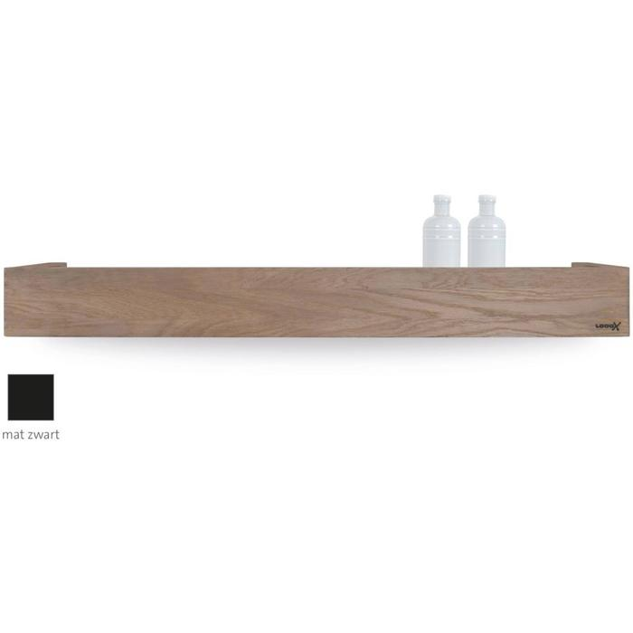 Looox Wooden Collection shelf box met bodemplaat mat zwart eiken/mat zwart