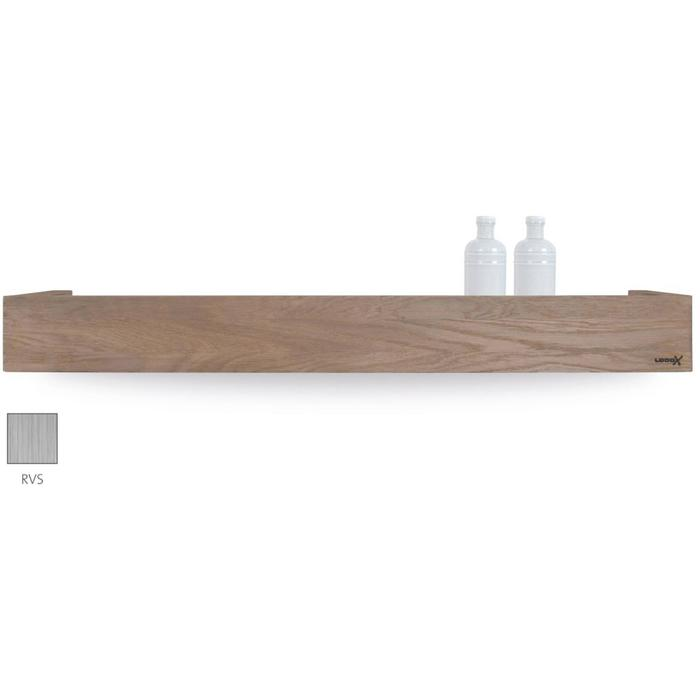 Looox Wooden Collection shelf box met bodemplaat rvs geborsteld eiken/geborsteld rvs