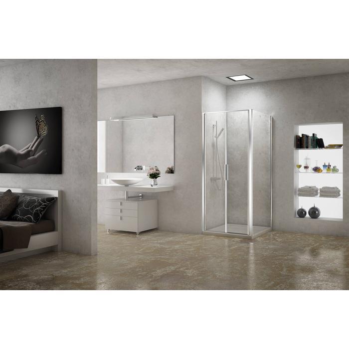 Sealskin Duka 1200 pendeldeur80,1-90(B) x tot 195(H) cm (gemonteerd op een vloer - glas midden) zilver hoogglans semi-gesatineerd glas + sealglas