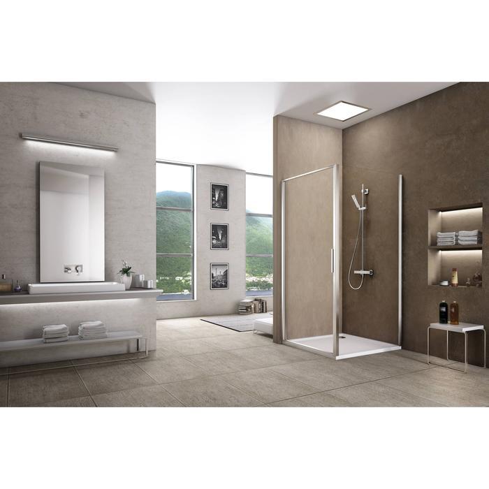 Sealskin Duka 1200 swingdeur rechter uitvoering 80,1-90(B)x195(H) cm (gemonteerd op een vloer - glas midden) zilver hoogglans semi-gesatineerd glas + sealglas