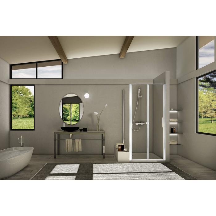 Sealskin Duka 1200 vouwdeur linker uitvoering 90,1-100(B) x tot 195(H) cm (gemonteerd op een vloer - glas midden) zilver hoogglans semi-gesatineerd glas + sealglas