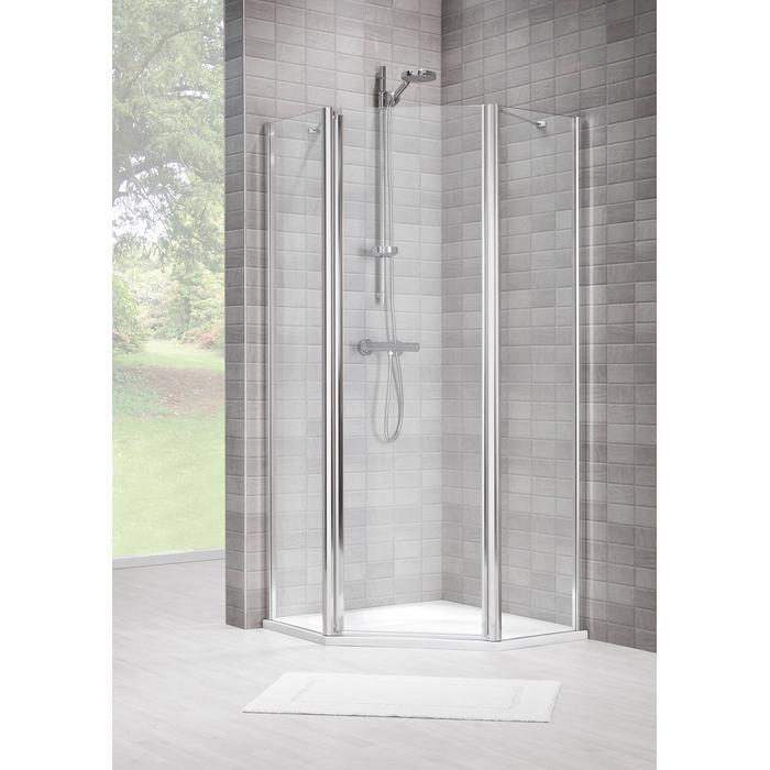 Sealskin Duka 1400 5-hoek L.draaiend 90x90(B)x195(H) cm (deurmaat 63,6) zilver hoogglans gesatineerd glas