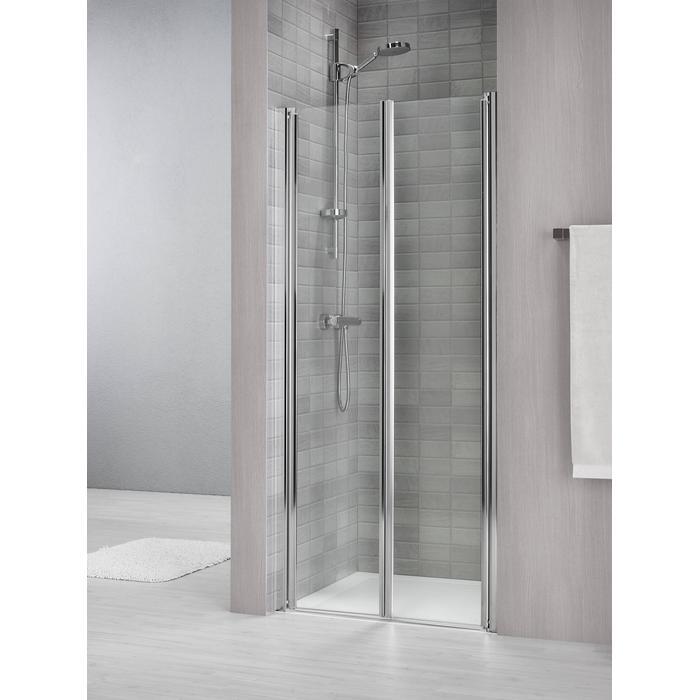 Sealskin Duka 1400 pendeldeur 90(B)x195(H) cm (gemonteerd op een vloer - glas midden) zilver hoogglans helder glas