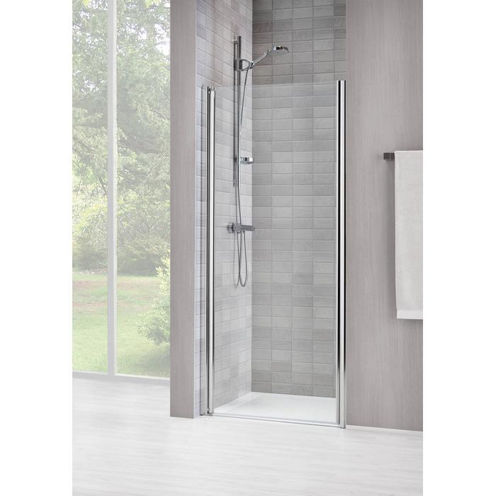 Sealskin Duka 1400 swingdeur L.draaiend 90(B)x195(H) cm (gemonteerd op een vloer - glas midden) zilver hoogglans helder glas