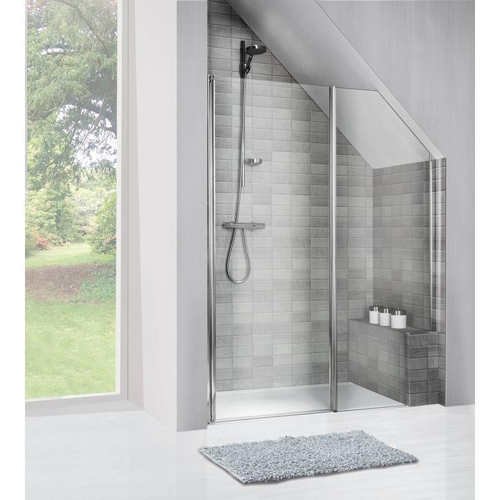 Sealskin Duka 1400 inline deur L. 140(B)x195(H) cm zilver hoogglans gesatineerd glas