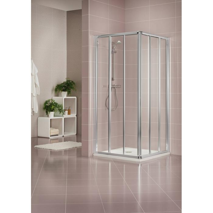 Sealskin Duka 1600 hoekinstap 3-dlg compleet 80x80(B)x190(H)cm mat zilver semi-gesatineerd glas 3mm