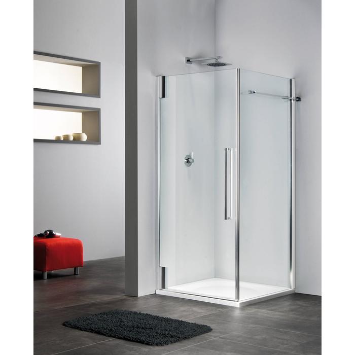 Sealskin Duka 2100 swingdeur L. 80,1-90(B) x tot 225(H) cm (voor comb. met zijwand, gemonteerd op een vloer - glas midden) zilver hoogglans gesatineerd glas 8mm