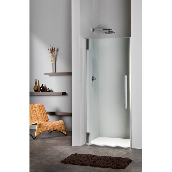 Sealskin Duka 2100 swingdeur L. 50-80(B) x tot 225(H) cm (tussen 2 muren) zilver hoogglans gesatineerd glas 8mm + sealglas