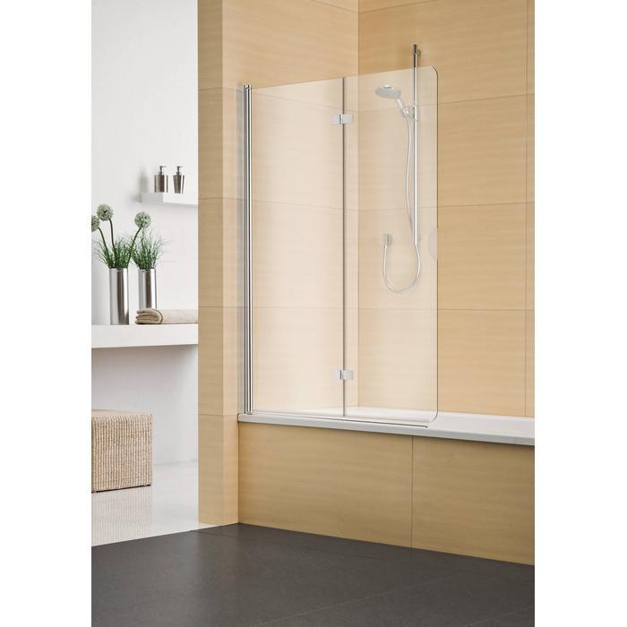 Sealskin Duka Multi vouw-pendel badwand 2-dlg L.vast 110,1-130(B)x tot 170(H) cm mat zilver chinchilla glas