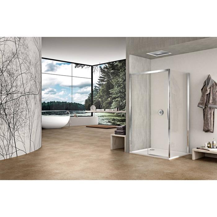 Sealskin Duka Natura 2-delige schuifdeur 160x195 cm Links Semi-Gesatineerd Glas Zilver Hoogglans profiel
