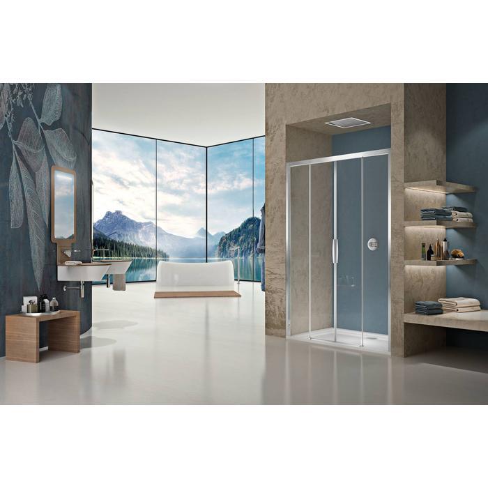 Sealskin Duka Natura 4-delige schuifdeur 170x195 cm Semi-Gesatineerd Glas Zilver Hoogglans profiel