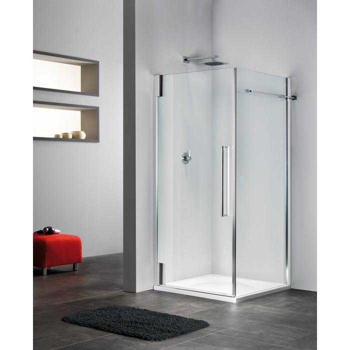Sealskin Duka 2100 swingdeur R. 90(B)x195(H) cm (voor comb. met zijwand, gemonteerd op een vloer - glas midden) zilver hoogglans semi-gesatineerd glas 8mm + sealglas