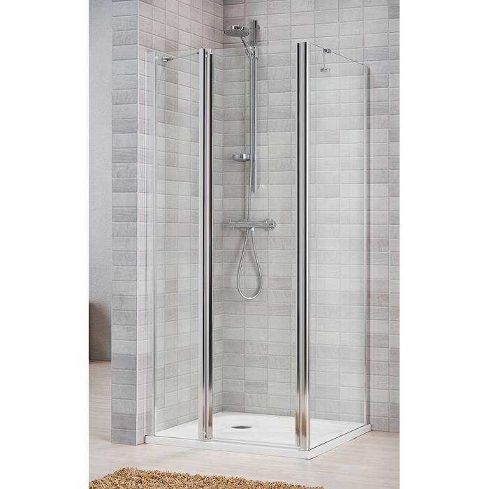 Sealskin Vela 2000 zijwand 90(B)195(H) cm (gemonteerd op een vloer - glas midden) zilver hoogglans helder glas