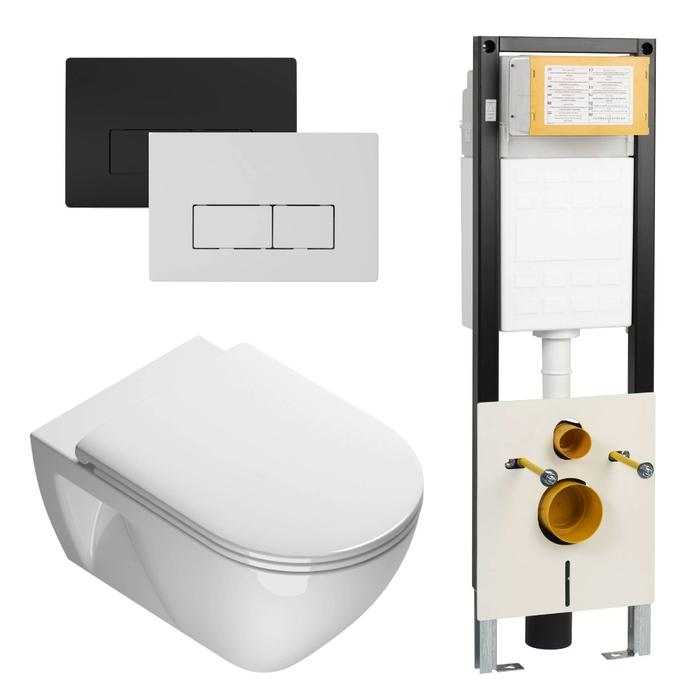 Ben Puro wandcloset Xtra Glaze Free Flush 54,5x35cm Wit / WBRN set