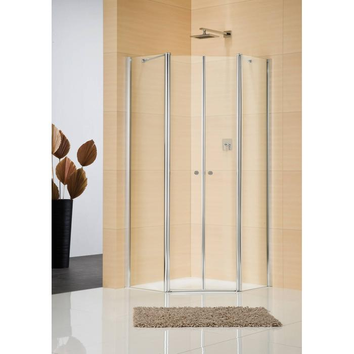 Sealskin Duka Multi 5-hoek 4-dlg 100x100(B)x195(H) cm (deurmaat 63,6) zilver hoogglans helder glas + procare