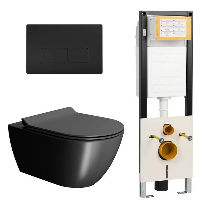 Ben Segno Wandcloset Free Flush Xtra Glaze Dual Mat Zwart / WBRN set