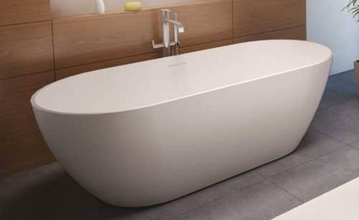 Vrijstaand Bad Mat Wit.Riho Solid Surface Vrijstaand Bad Mat Wit 150 X 75 X 55 5 Cm
