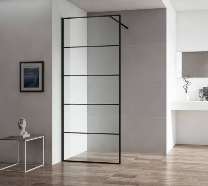 Inloopdouche Zonder Glazen Wand.Saqu Miralo Inloopdouche Met Industrieel Zwart Frame 100x210 Cm Helder Glas Mat Zwart
